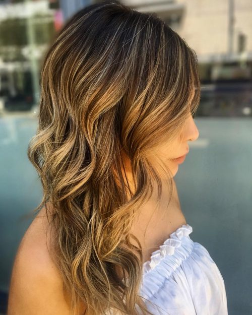 Natural Brown Hair with Golden Blonde Highlights