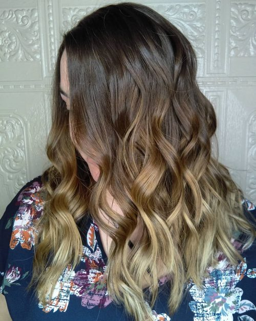 Dark brown hair to honey brown ombre balayage