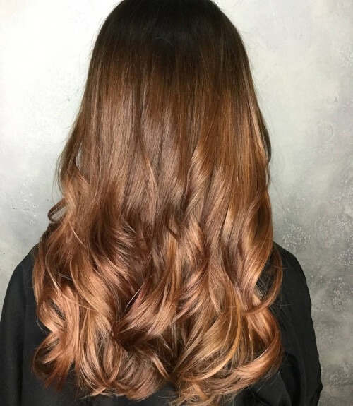 brunette to peachy rose gold hair color