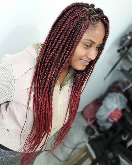 Burgundy ombre box braids