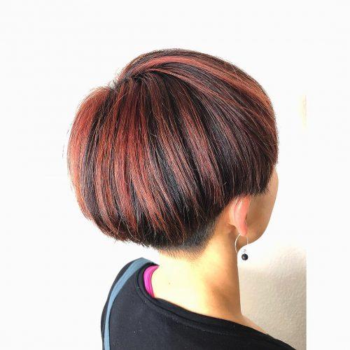 Burgundy highlights on short hair