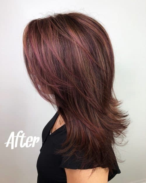 Burgundy Highlights on Balayage Brown Hair