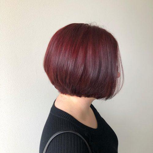 Short Burgundy Red Haircut