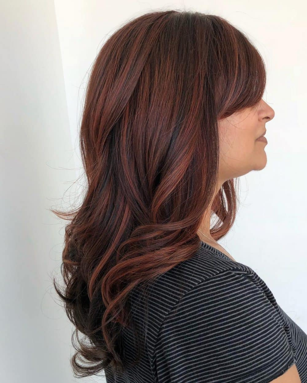 Burgundy Red Highlights on Brown Hair