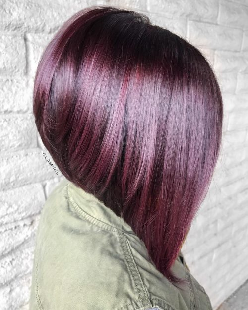 Burgundy red stacked bob