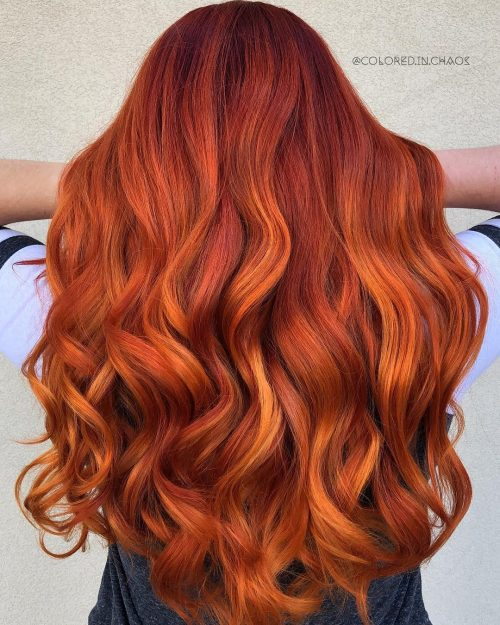 Burn red orange leaves hair color