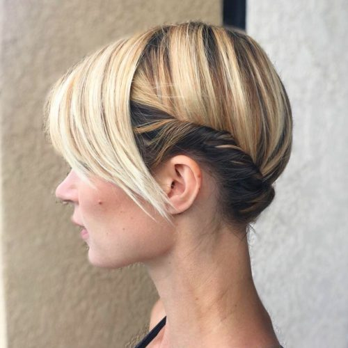 Picture of a caramel blonde updo with a twist