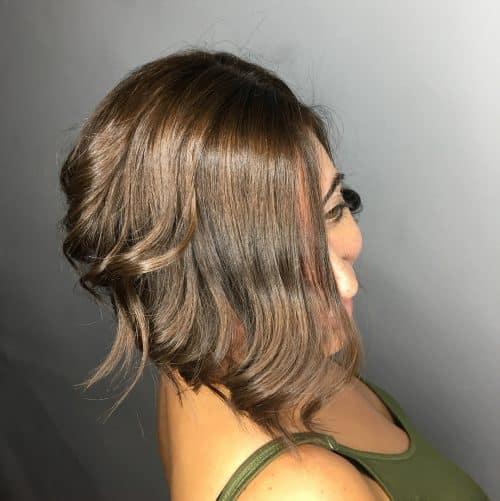 Caramel Brown Ear-Length Cut with Bangs