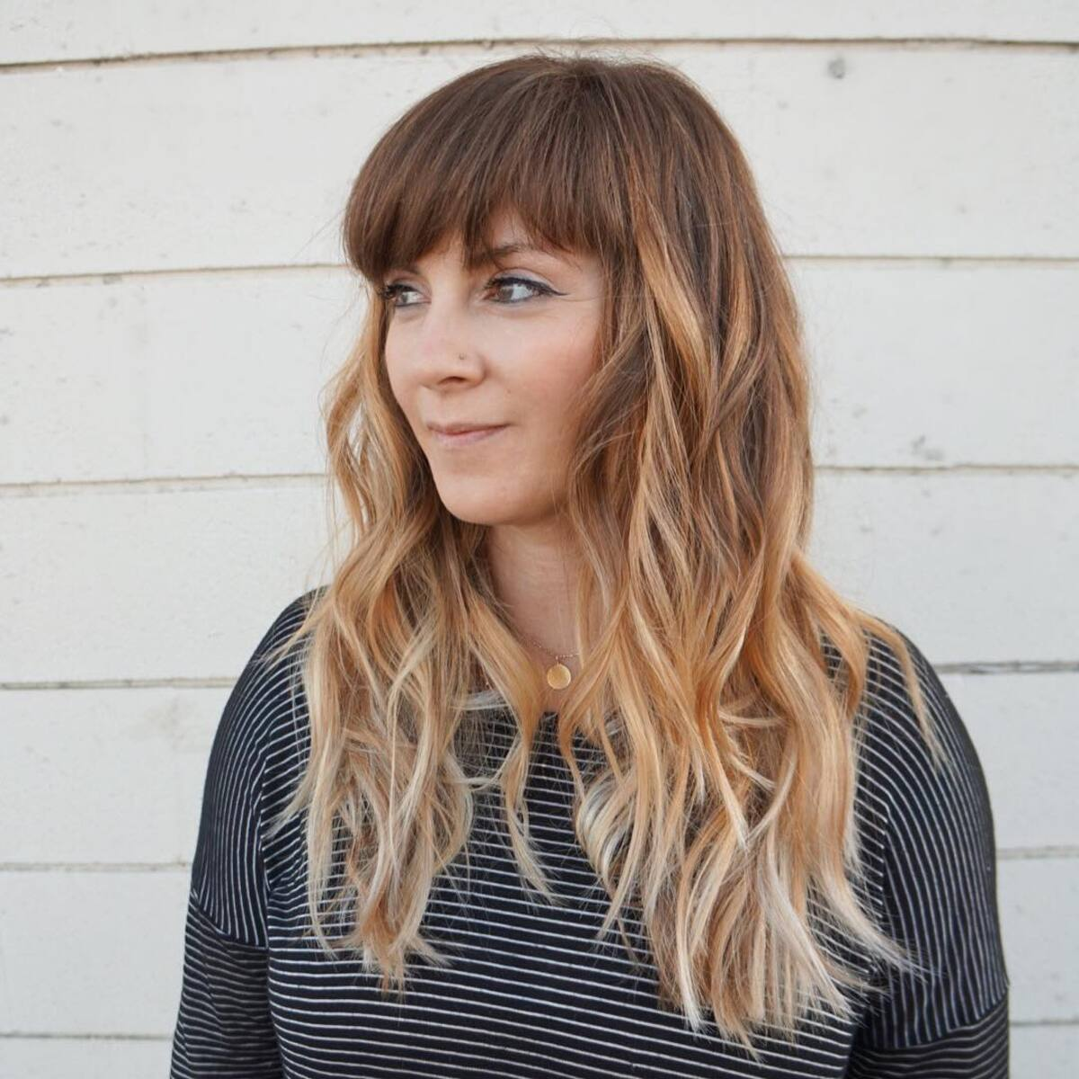 Caramel Brown to Blonde Ombre with Bangs