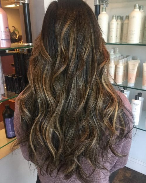Caramel Balayage Highlights Long Dark Brown Hair With