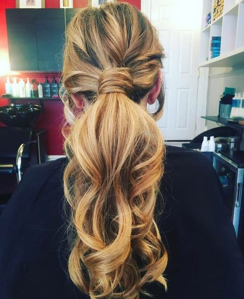 Casual Boho Ponytail in Wrap-Around Hairstyle