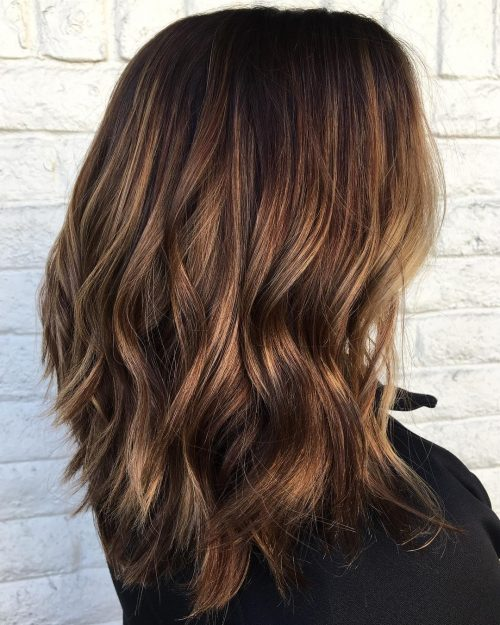 Picture of a chestnut balayage very dark brunette