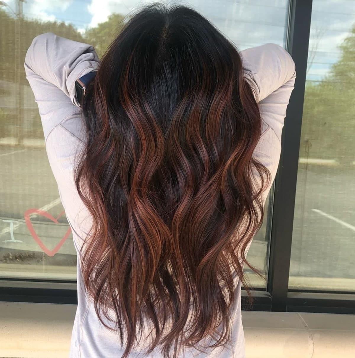 dark chestnut brown highlights on black hair