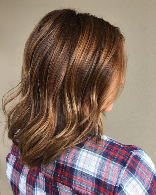 Chestnut brown hair with honey highlights