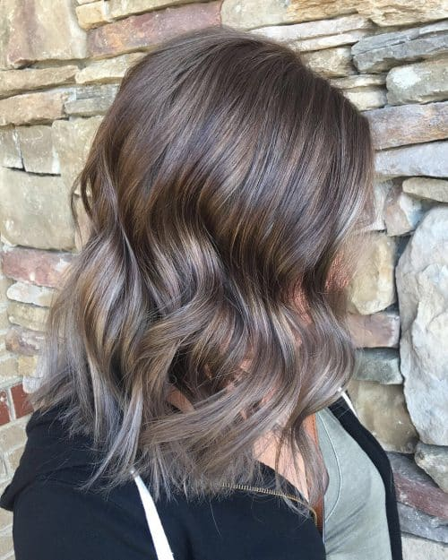 Chestnut Brunette to Silver Lob Cut