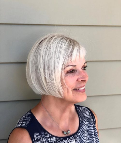 Chic Rounded Bob for 50 year old women