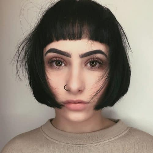 Chin-Length Bob with Blunt Bangs
