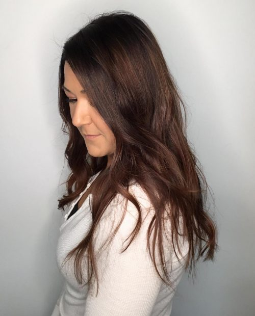 Picture of a chocolate balayage very dark brunette