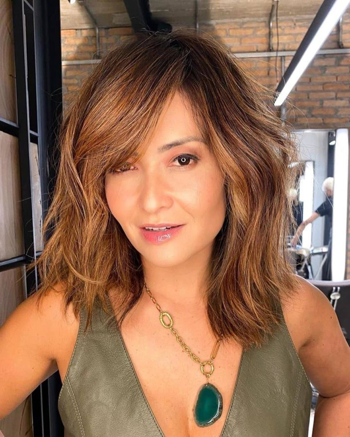 Choppy Lob with Side Bangs for Older Women