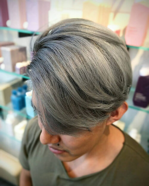 Short and silver hair ombre