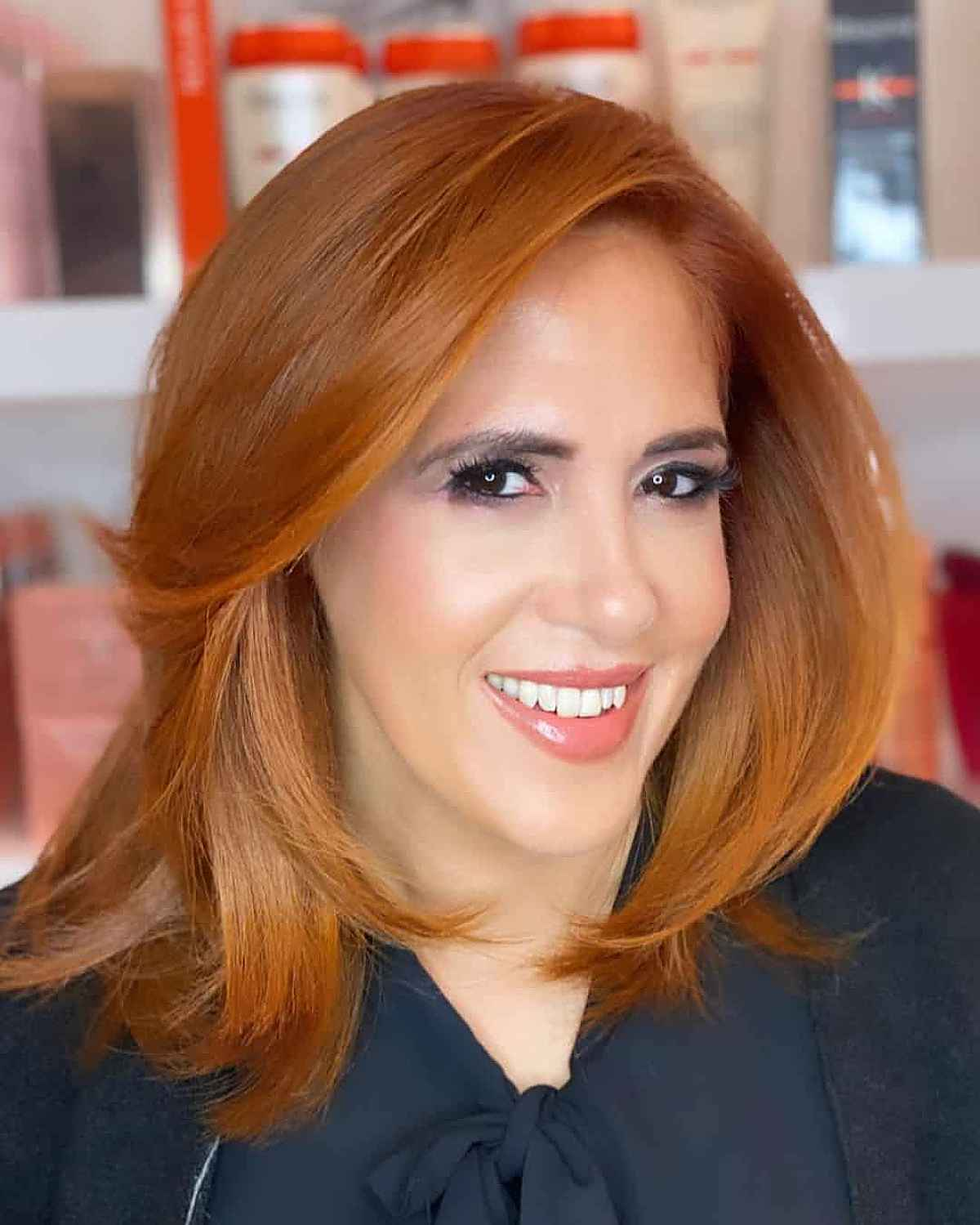 Cinnamon Ginger Fall-Inspired Hair Color for Ladies Over Forty