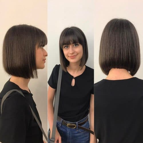 Classic Sleek Bob With Bangs hairstyle