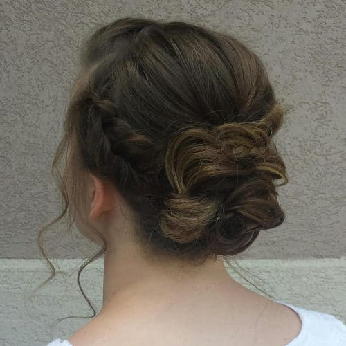 Classic Updo with Braid Accent hairstyle