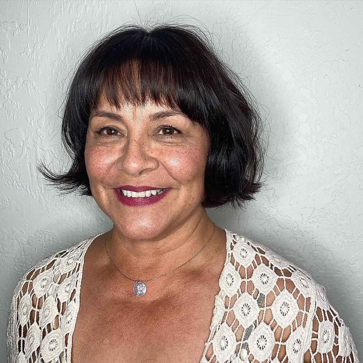 Classy Bob with Bangs for Older Women