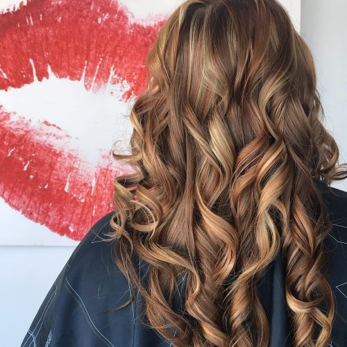 Picture of a long hair with copper highlights
