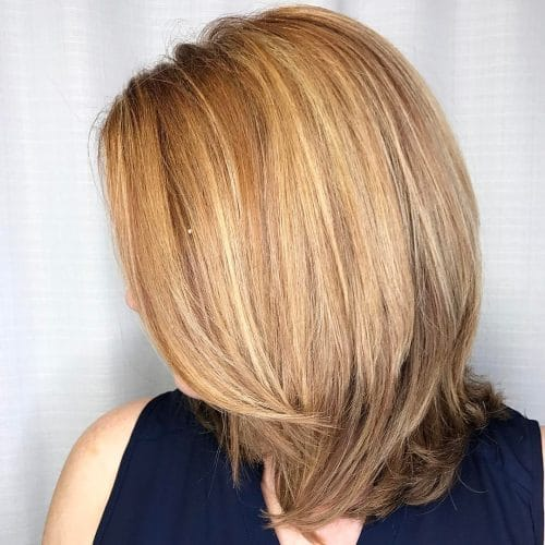 Copper Blonde Long Bob With Layers