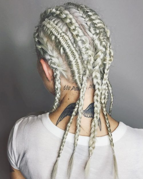 Platinum blonde hair with cornrows