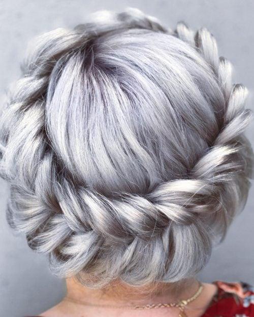 Platinum blonde with braids around the crown