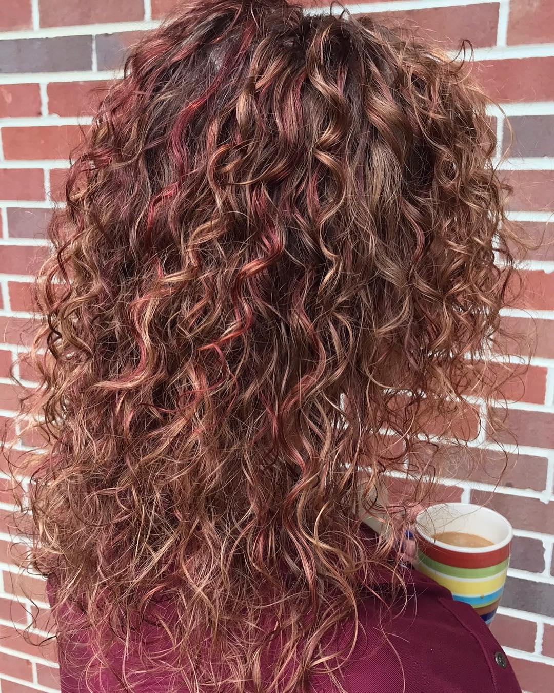 Curly Dark Auburn Hair Color With Lowlights