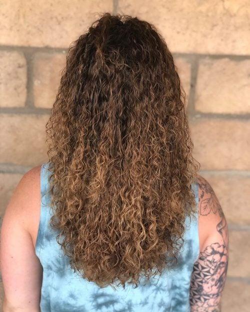 Permanente rizada para cabello largo