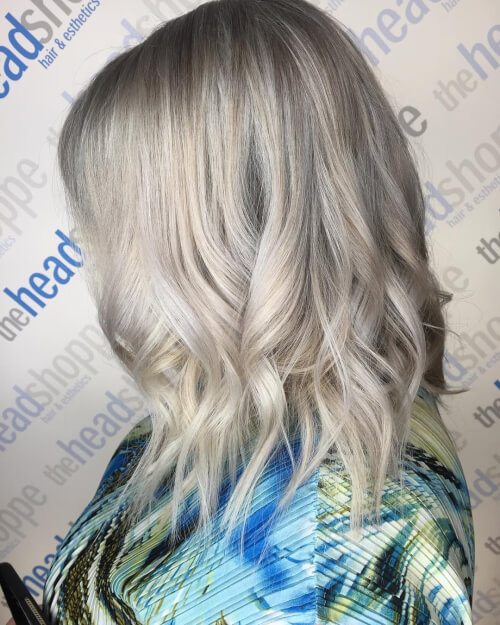 Picture of a silver blonde hair color