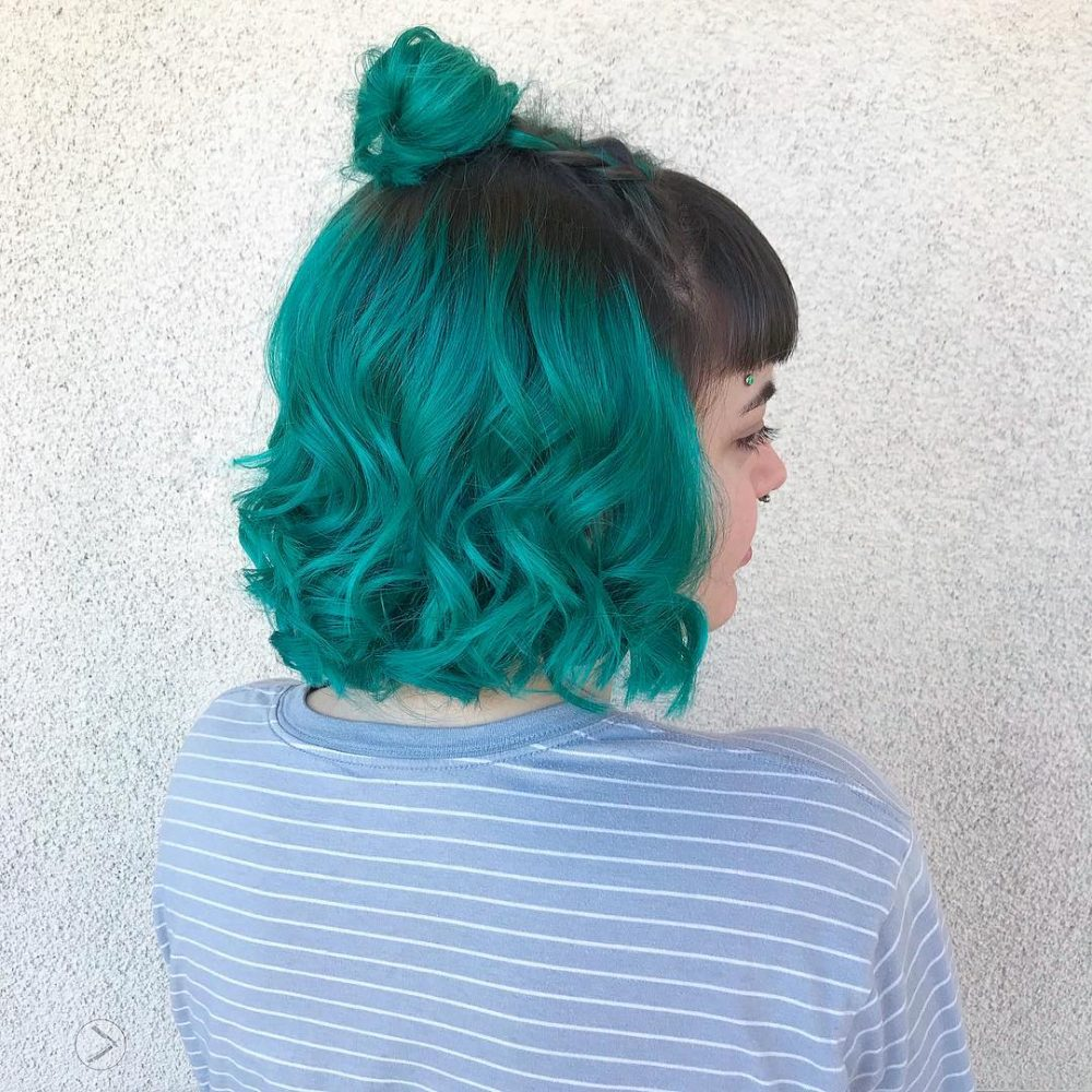 Curly Teal Bob hairstyle