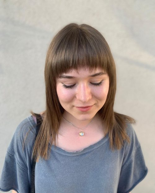 Curved Bangs for a Round Face
