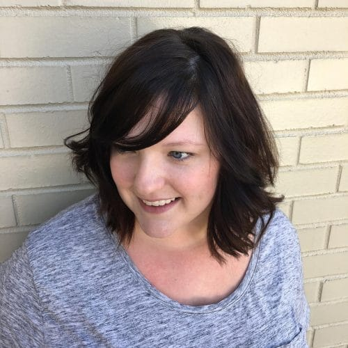 A textured lob with bangs