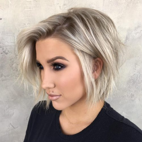 Picture of a chin length textured platinum bob