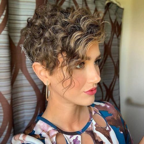 Cute Curly Pixie Cut with Bangs