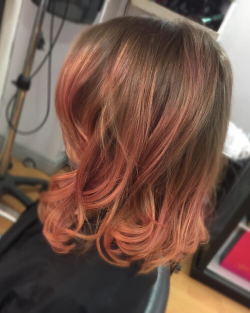 cute rose gold ombre hair color