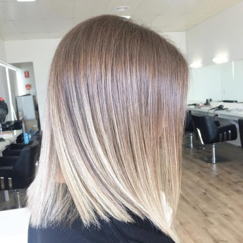 Picture of a cute straight shoulder length ombre bob