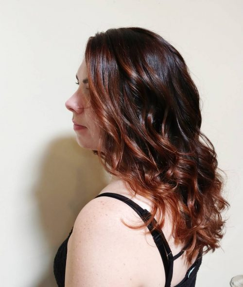 Dark auburn brown hair