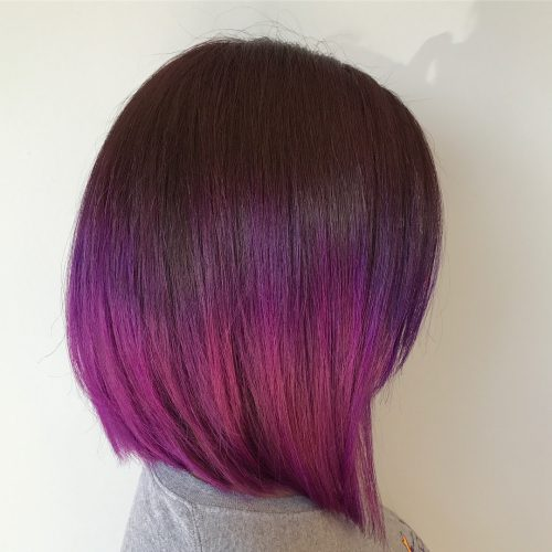 Dark auburn to bright plum ombre