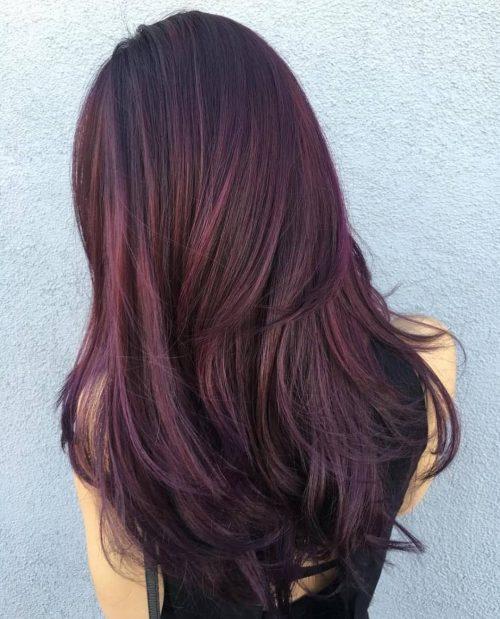 Dark berry burgundy hair color