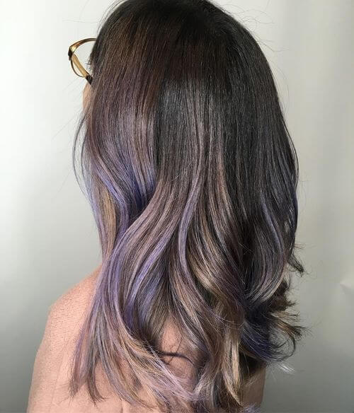 Lilac and lavender ombre hair color