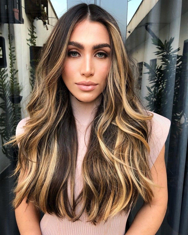 Dark hair with blonde balayage highlights