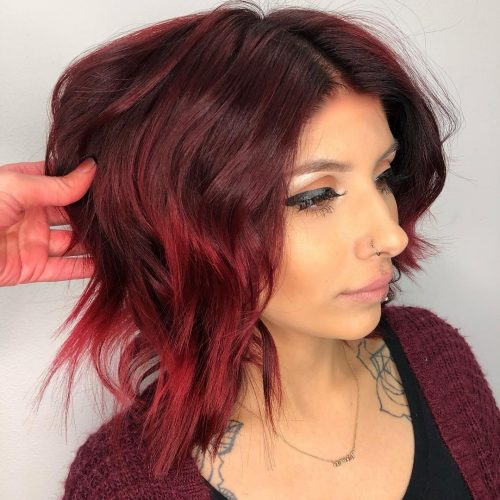 Shoulder length mahogony dark red hair