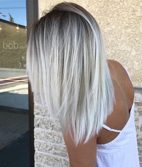 Dark to platinum blonde hair