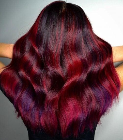 dark purple and red hair